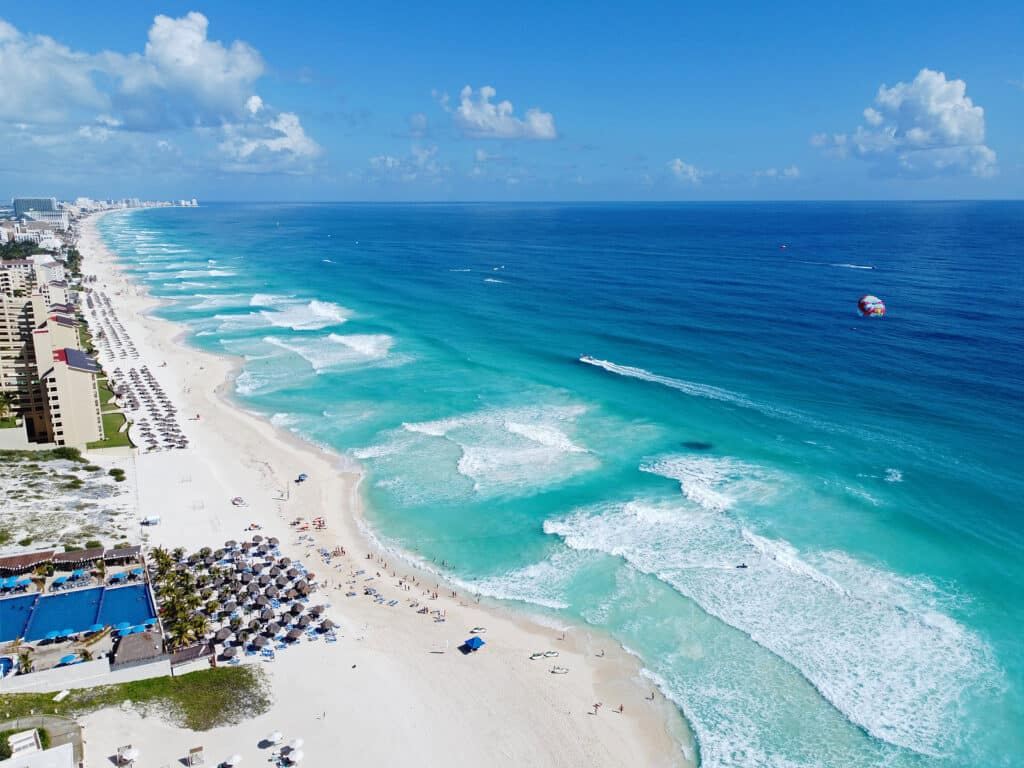 Cancun beach and hotel zone aerial view by Krystal International Vacation Club