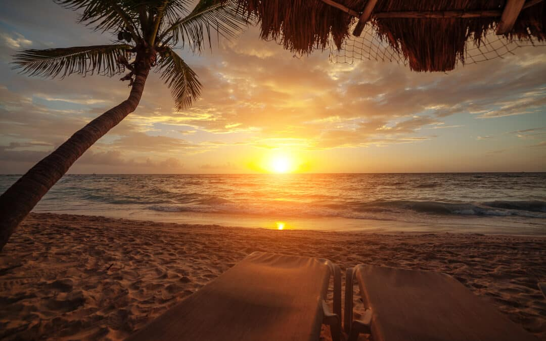 Sunrise over the ocean in Cancun. Mexico